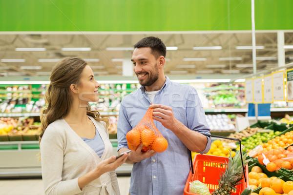 Stok fotoğraf: Mutlu · çift · satın · alma · portakal · bakkal · alışveriş