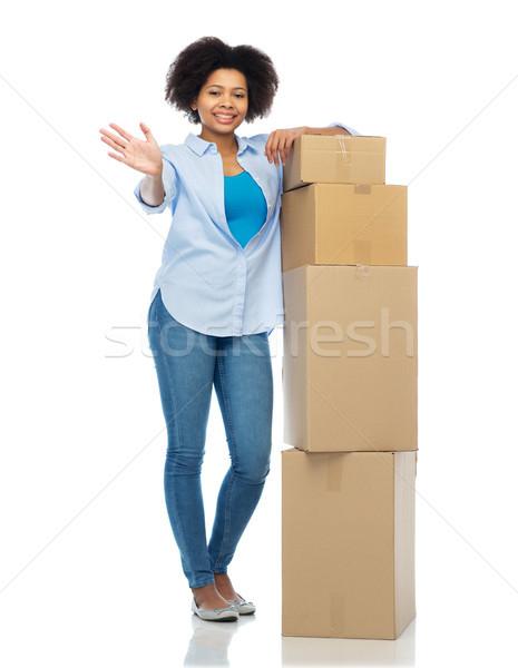 Foto d'archivio: Felice · african · donna · pacchetto · scatole