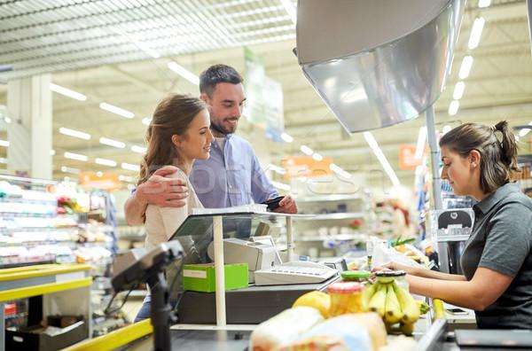 カップル 買い 食品 レジ ショッピング ストックフォト © dolgachov