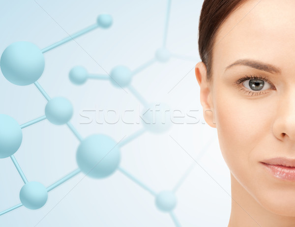 Mooie vrouw half gezicht schoonheid mensen Stockfoto © dolgachov