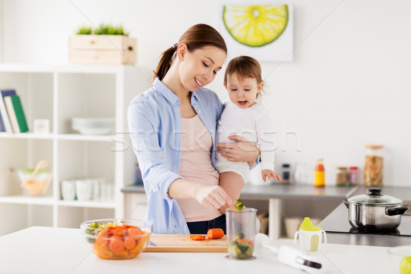 happy mother and baby cooking food at home kitchen Stock photo © dolgachov