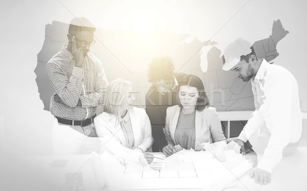 map of united states of america with business team Stock photo © dolgachov