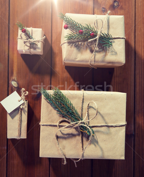 close up of christmas gifts with fir brunch Stock photo © dolgachov