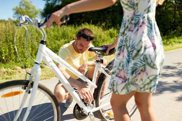 Feliz bicicleta estrada rural pessoas Foto stock © dolgachov