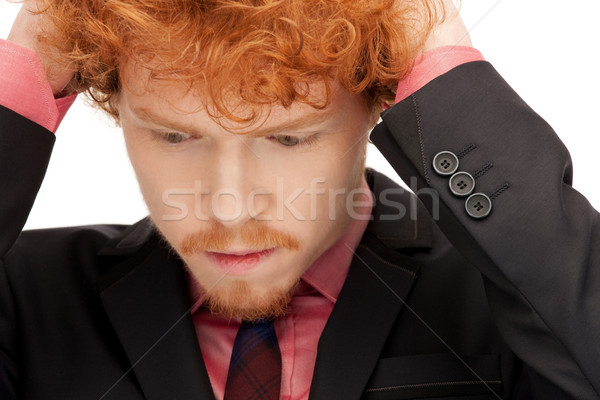 Boldogtalan férfi fényes közelkép portré kép Stock fotó © dolgachov