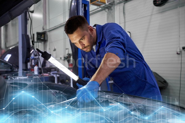 механиком человека лампы автомобилей семинар Сток-фото © dolgachov