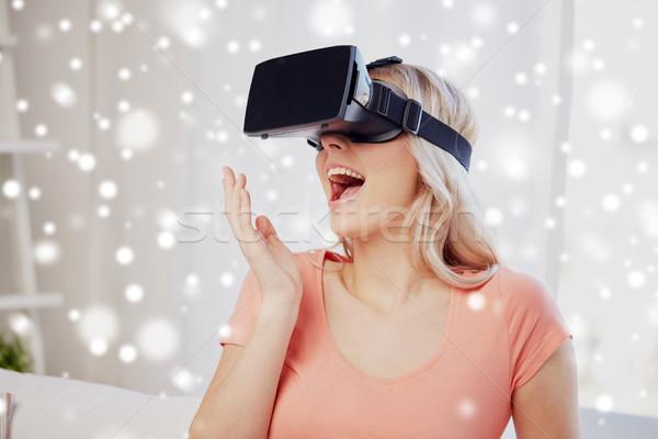 Nő virtuális valóság headset 3d szemüveg technológia Stock fotó © dolgachov