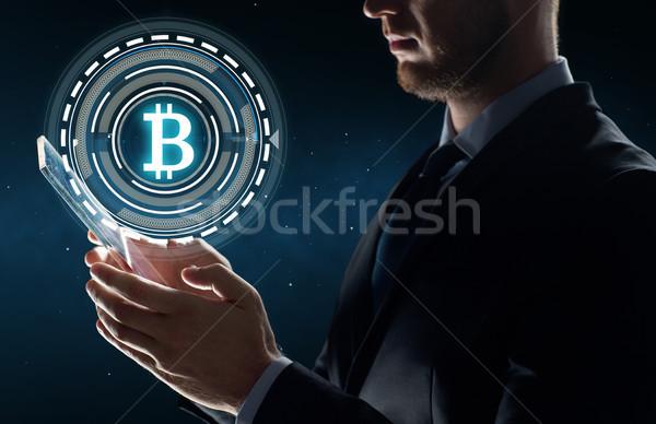 ストックフォト: ビジネスマン · bitcoinの · ホログラム · ビジネス · 将来