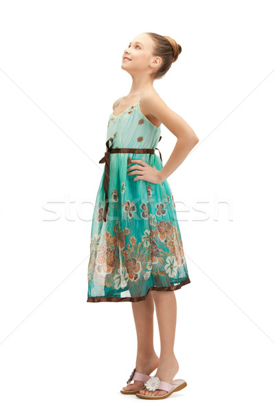 Boldog gondtalan tinilány fényes kép lány Stock fotó © dolgachov
