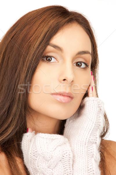 Stock photo: beautiful woman in mittens