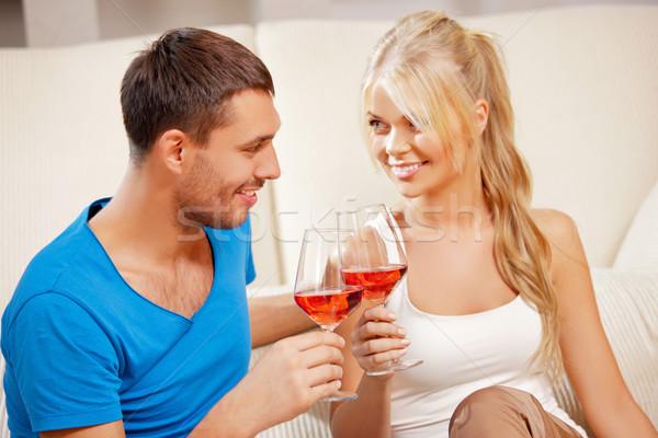 романтические пару питьевой вино фотография счастливым Сток-фото © dolgachov