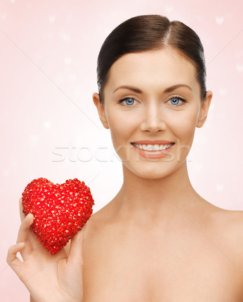 Kadın kalp parlak resim güzel bir kadın mutlu Stok fotoğraf © dolgachov