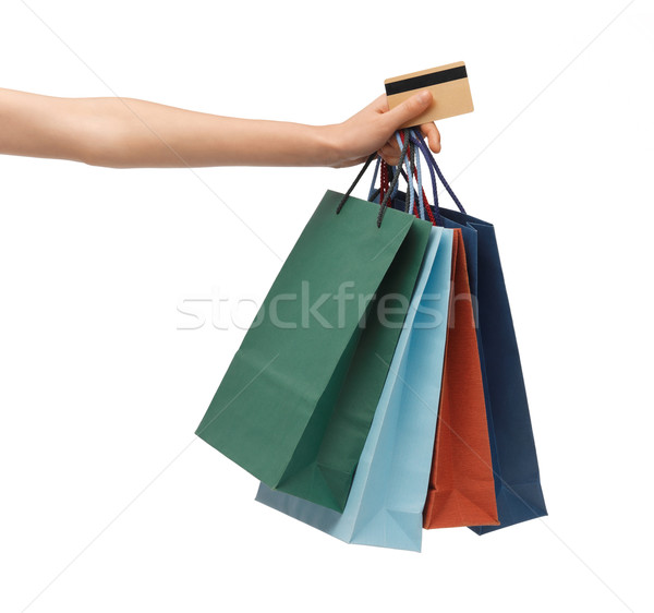 multi colored shopping bags and credit card Stock photo © dolgachov