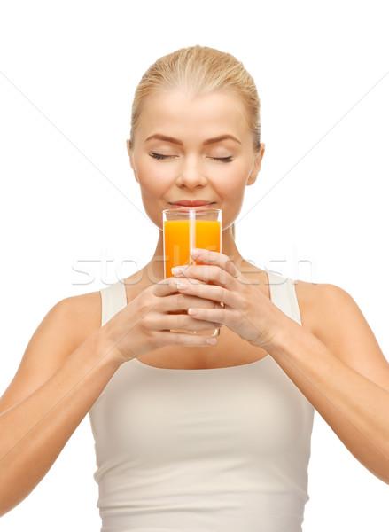 Stockfoto: Jonge · vrouw · drinken · sinaasappelsap · foto · vrouw · gelukkig