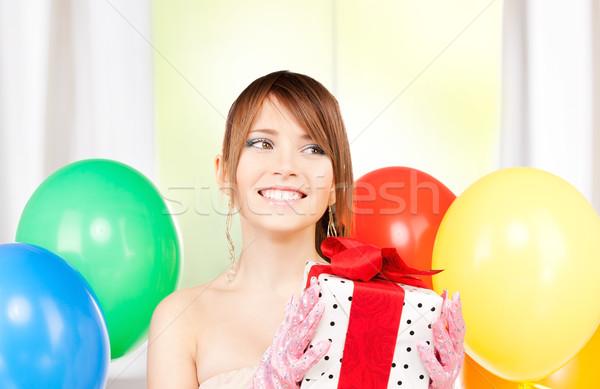 Stok fotoğraf: Parti · kız · balonlar · hediye · kutusu · mutlu