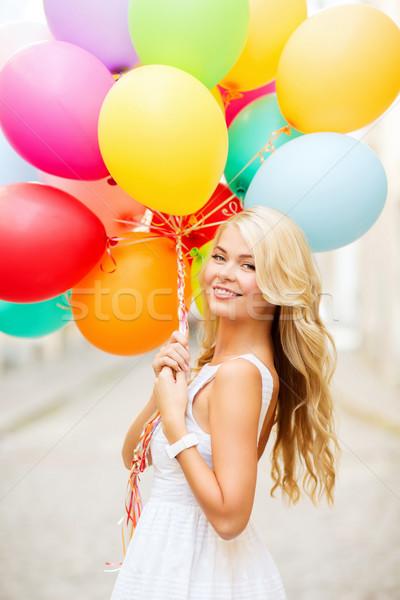 Nő színes léggömbök nyár ünnepek ünneplés Stock fotó © dolgachov