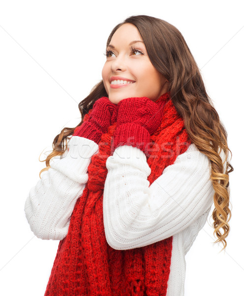 woman in sweater, scarf and mittens Stock photo © dolgachov