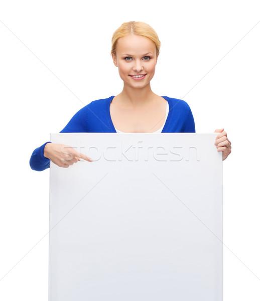 Nő lezser ruházat fehér tábla emberek hirdetés Stock fotó © dolgachov