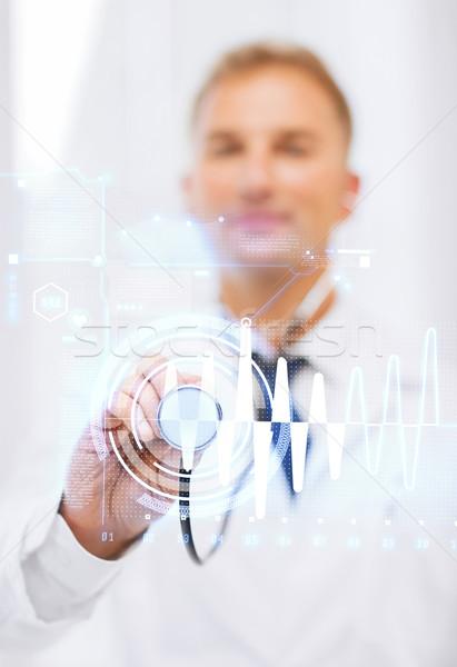 мужской доктор стетоскоп здравоохранения медицина человека Сток-фото © dolgachov