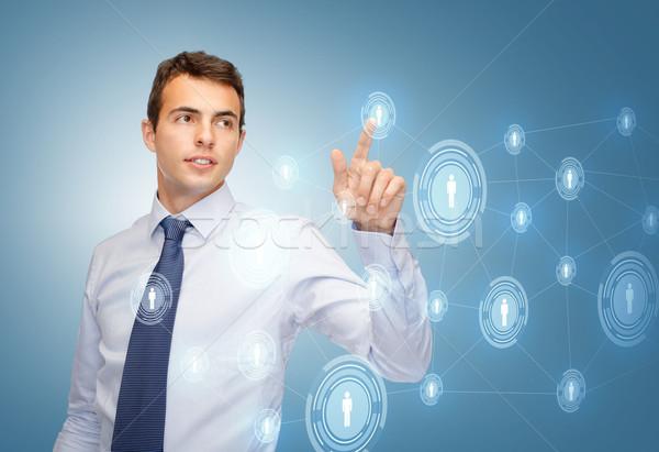 бизнесмен рабочих мнимый виртуальный экране бизнеса Сток-фото © dolgachov
