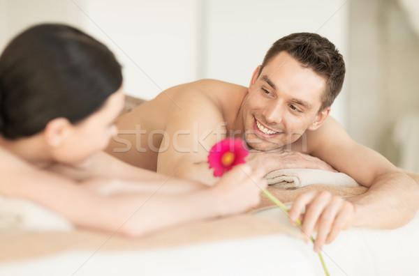 Casal estância termal quadro salão massagem mulher Foto stock © dolgachov