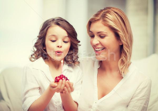Mutter Tochter Bild Cupcake Haus Mädchen Stock foto © dolgachov