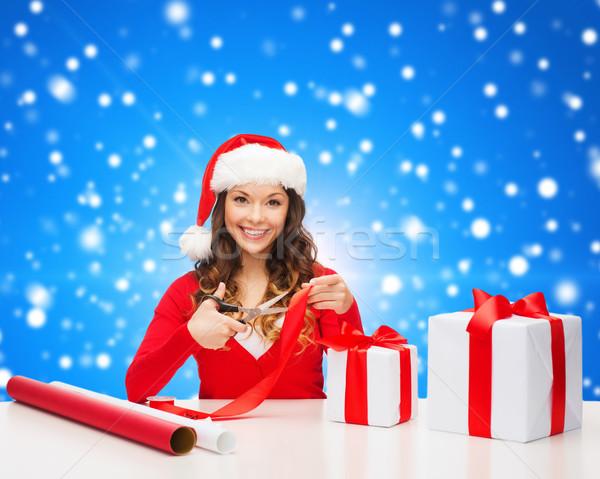 笑顔の女性 サンタクロース ヘルパー 帽子 ギフトボックス ストックフォト © dolgachov