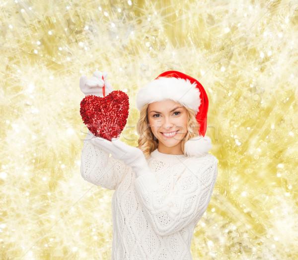 笑顔の女性 サンタクロース ヘルパー 帽子 赤 中心 ストックフォト © dolgachov