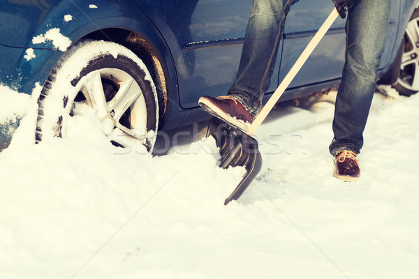 closeup of man digging up stuck in snow car Stock photo © dolgachov