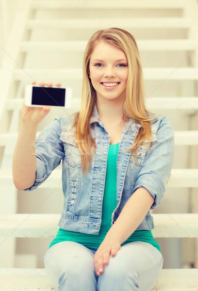 Gülen öğrenci ekran eğitim teknoloji Stok fotoğraf © dolgachov
