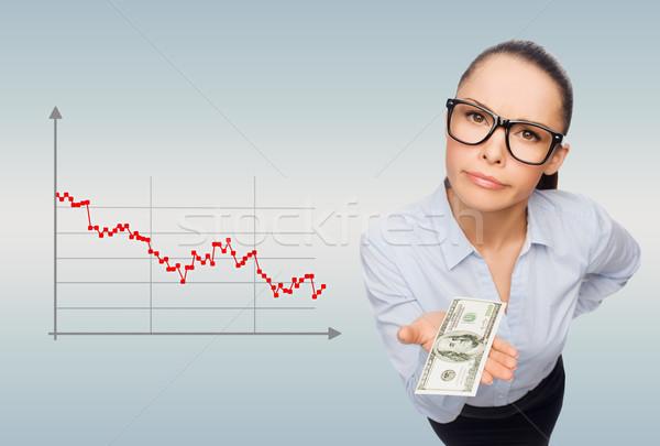 улыбаясь деловая женщина доллара наличных деньги бизнеса Сток-фото © dolgachov