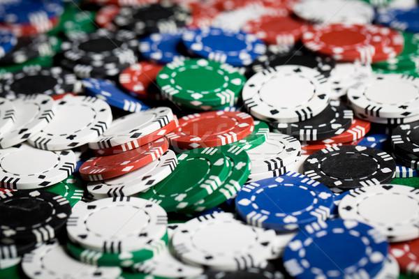 Közelkép kaszinó zsetonok hazárdjáték játék szórakoztatás pénz Stock fotó © dolgachov