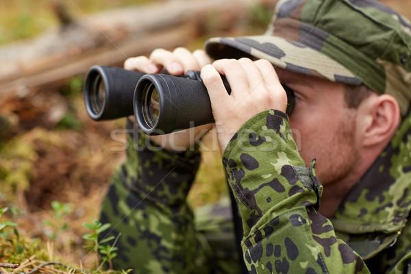 Młodych żołnierz hunter lasu polowanie wojny Zdjęcia stock © dolgachov