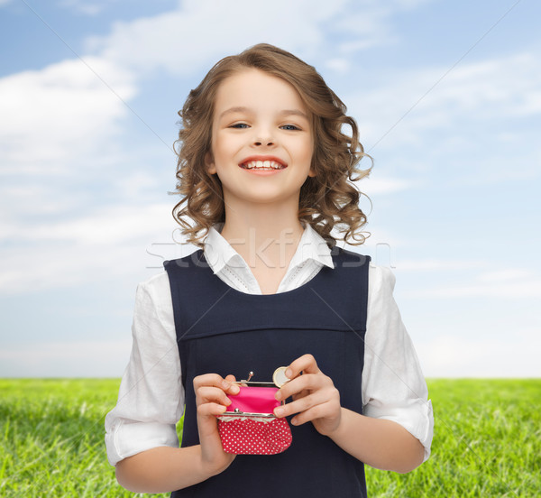 Gelukkig meisje portemonnee euro munt geld Stockfoto © dolgachov