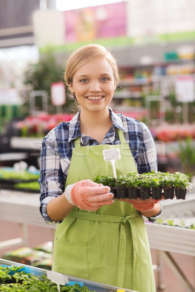Szczęśliwy kobieta sadzonka szklarnia ludzi Zdjęcia stock © dolgachov