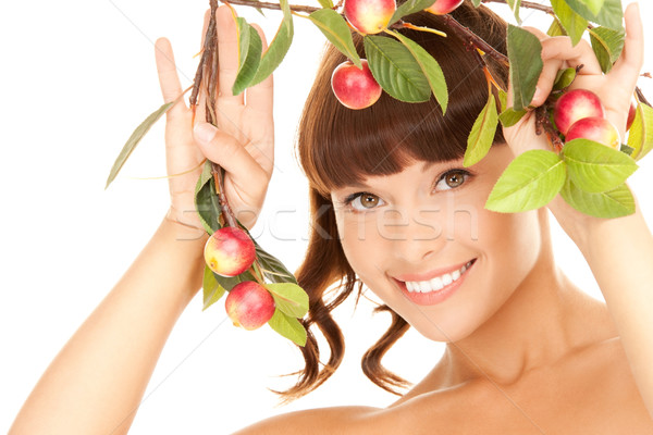 happy woman with apple twig Stock photo © dolgachov