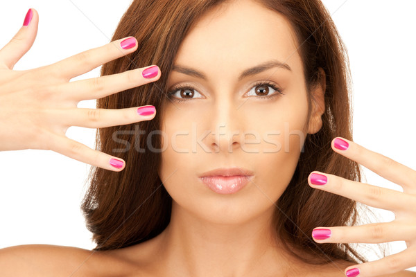 Stock photo: lovely woman with polished nails