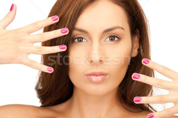 Mulher polido unhas brilhante quadro branco Foto stock © dolgachov