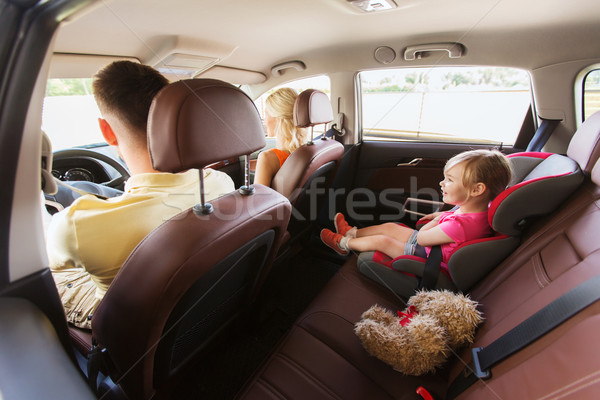 happy parents with little child driving in car Stock photo © dolgachov
