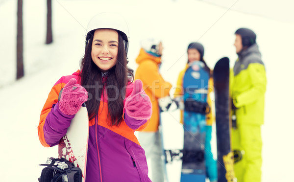 Gelukkig vrienden helmen winter recreatie Stockfoto © dolgachov