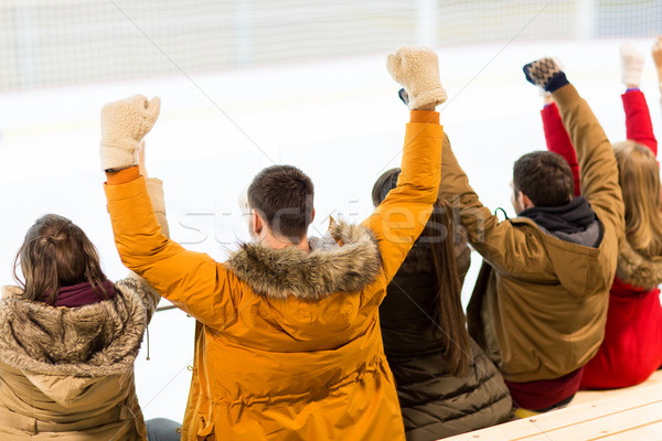 happy friends supporting team on ice rink arena Stock photo © dolgachov
