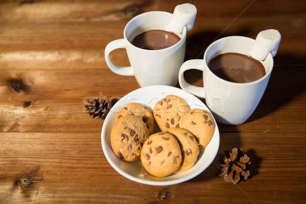 Stock fotó: Csészék · forró · csokoládé · mályvacukor · sütik · ünnepek · karácsony