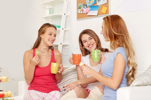 happy young women drinking tea with sweets at home Stock photo © dolgachov