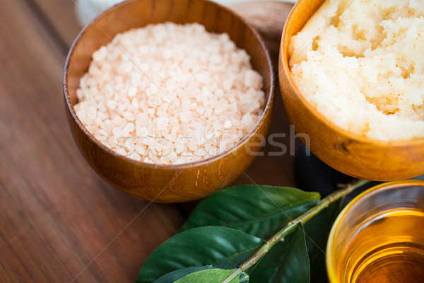 close up of himalayan pink salt and body scrub Stock photo © dolgachov