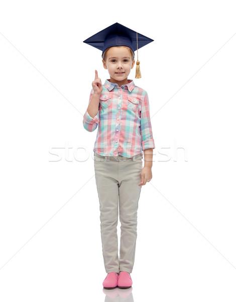Mutlu kız bekâr şapka çocukluk okul eğitim Stok fotoğraf © dolgachov