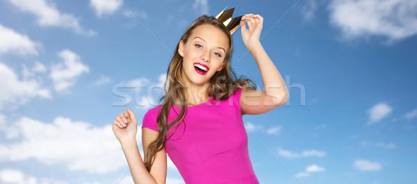 Foto stock: Feliz · mulher · jovem · menina · adolescente · rosa · vestir · pessoas