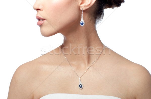 Femme boucle beauté bijoux mariage Photo stock © dolgachov