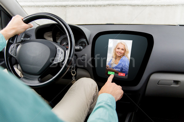 close up of man driving car and receiving call Stock photo © dolgachov