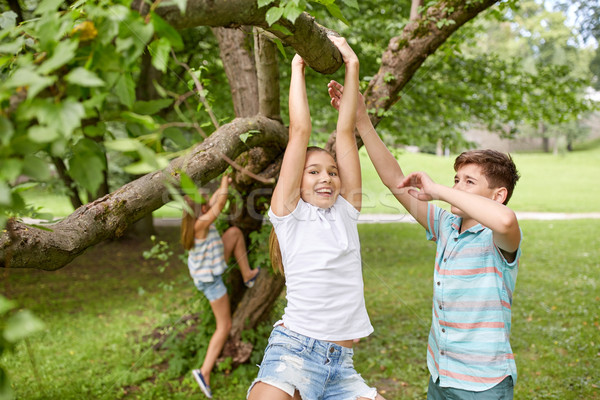 Gelukkig kinderen opknoping boom zomer park Stockfoto © dolgachov