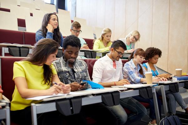 группа студентов смартфон лекция образование школу Сток-фото © dolgachov